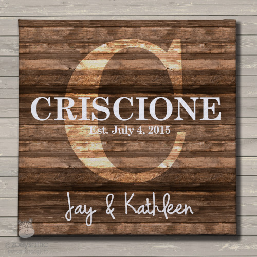 Initial family name rustic canvas print wall art