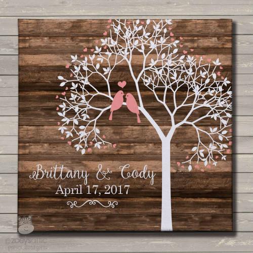Wedding anniversary tree love birds canvas print wall art