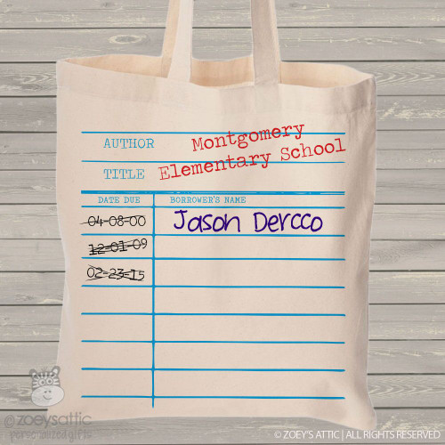 Library return card book tote bag