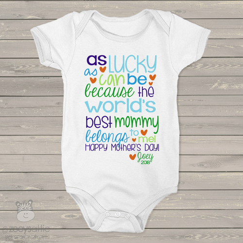 Mothers Day worlds best mommy boys bodysuit or Tshirt