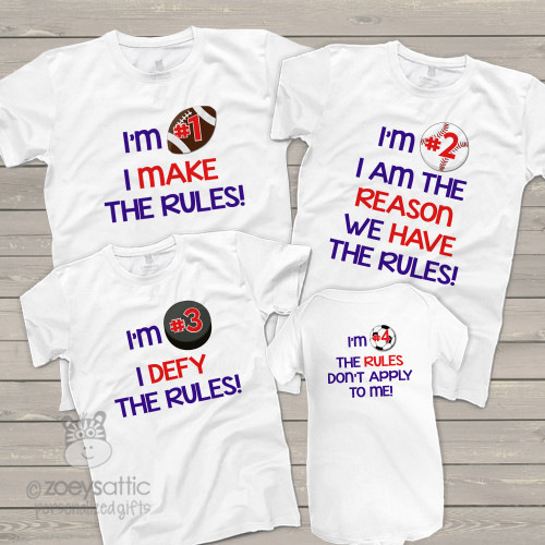 Rules any brother sister combination set of four sibling shirts