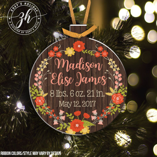 Birth stats flower wreath birth announcement ornament