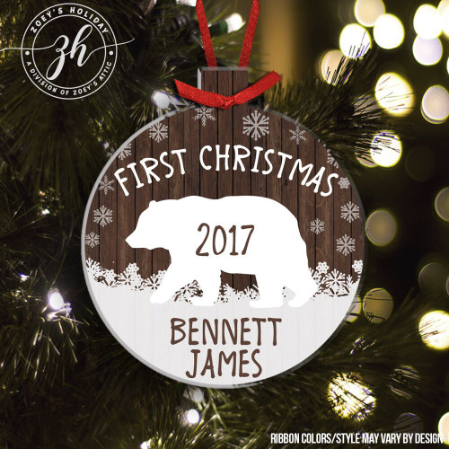 First Christmas snow bear ornament