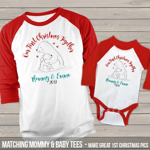 First Christmas together mommy baby snow bear raglan shirt set