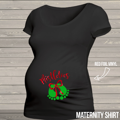 Mistletoes red foil bow DARK non-maternity or maternity shirt