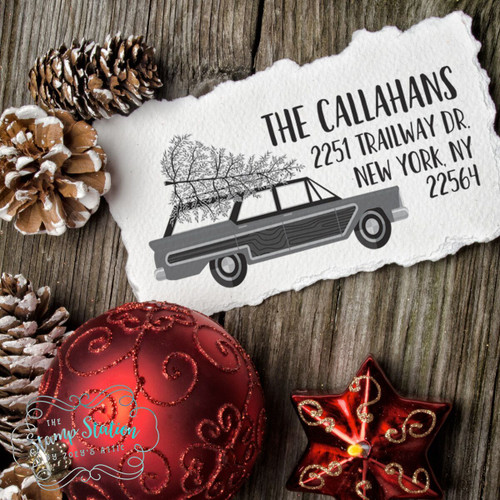 Retro Christmas station wagon tree return address self inking stamp