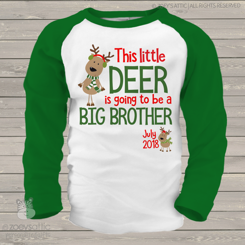 Christmas reindeer big brother to be raglan shirt