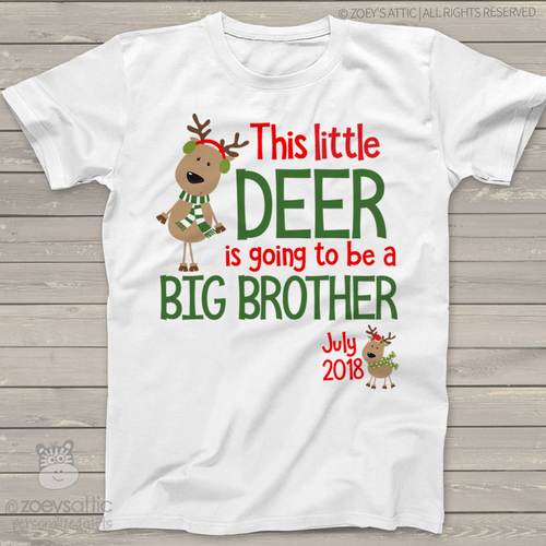 Christmas reindeer big brother to be Tshirt