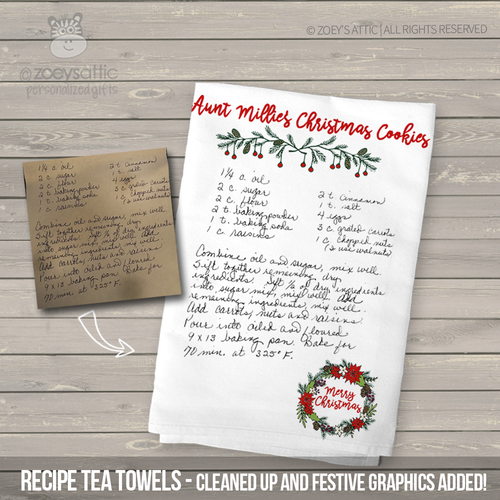 Christmas handwritten keepsake recipe flour sack tea towel