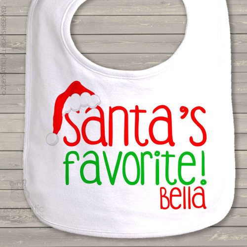 Santa's favorite personalized baby bib