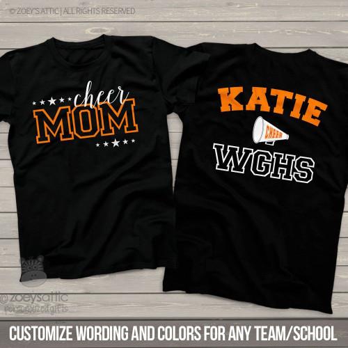 Cheer mom megaphone personalized DARK Tshirt