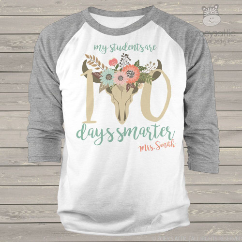 Teacher 100 days smarter cow head unisex adult raglan shirt