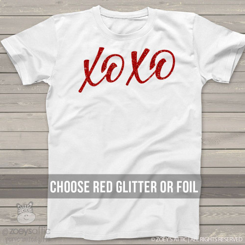 Valentine xoxo red glitter or foil shirt