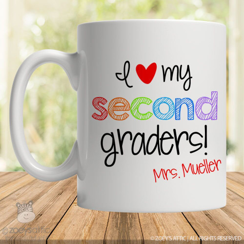 Teacher heart my any graders personalized coffee mug