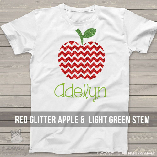 Sparkly glitter apple personalized Tshirt