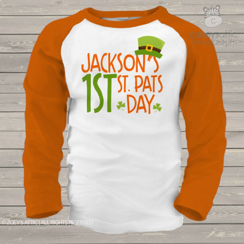 1st St. Pats Day leprechaun hat raglan shirt