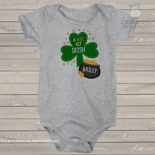 St. Patricks Day wee bit Irish personalized Tshirt