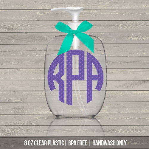 Polka dot monogram lotion or hand sanitizer or soap bottle personalized gift - BPA free