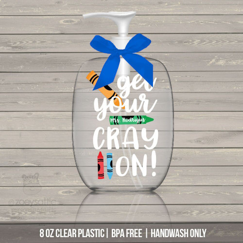Teacher get your crayon lotion or hand sanitizer or soap bottle personalized teacher gift - BPA free
