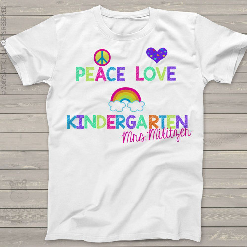 Teacher any grade peace love rainbow personalized Tshirt