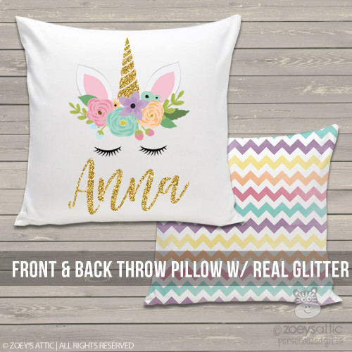 Unicorn face glitter personalized throw pillow
