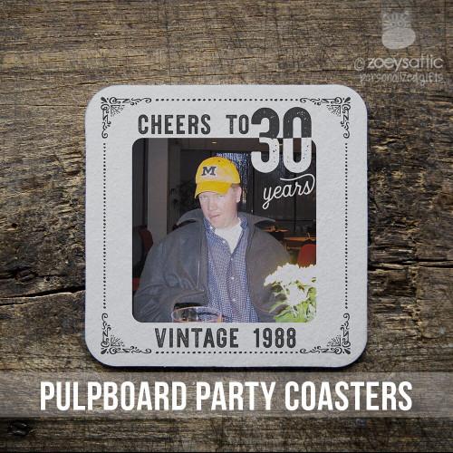 30th birthday or any birthday pulpboard custom photo coasters