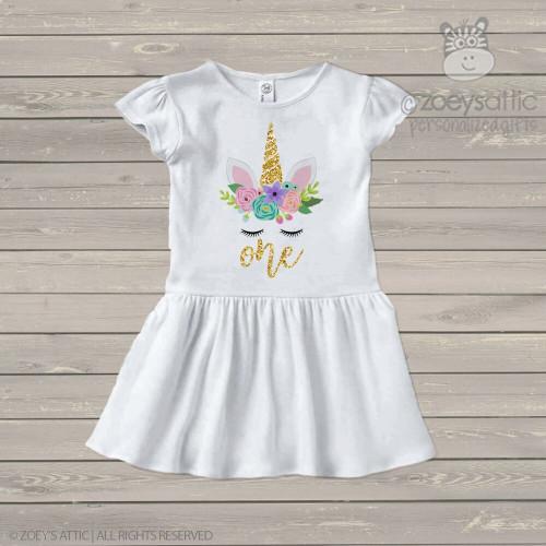 First birthday unicorn face glitter infant or toddler dress
