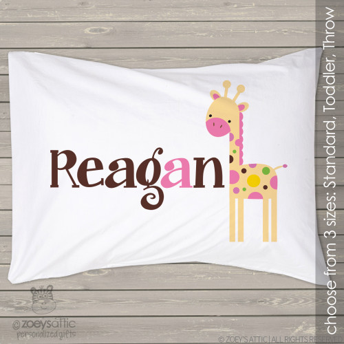 Personalized girl giraffe travel or toddler pillow and pillowcase