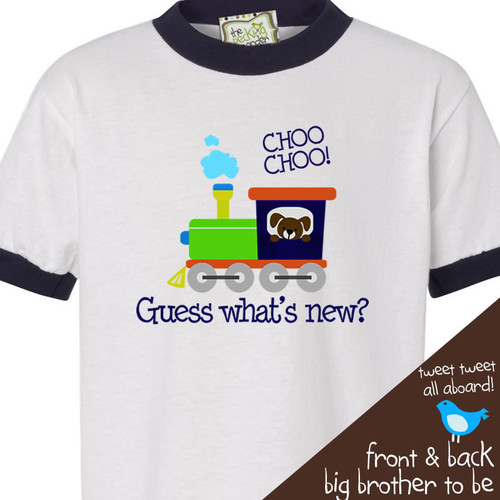 Big brother to be shirt guess whats new train pregnancy announcement ringer style Tshirt