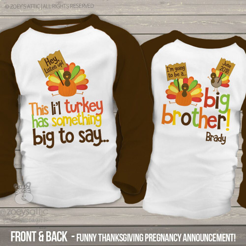 Thanksgiving big brother to be li'l turkey pregnancy announcement raglan Tshirt