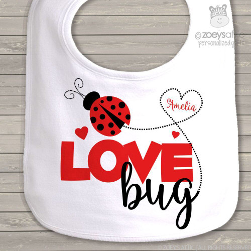 Personalized baby bibs embroidered bibs first birthday bib love bug personalized baby bib negle Images
