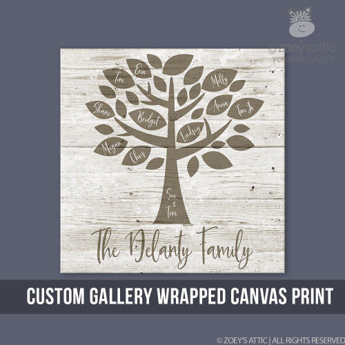 Family Tree Personalized Canvas Print Custom Wall Art On Wood Frame