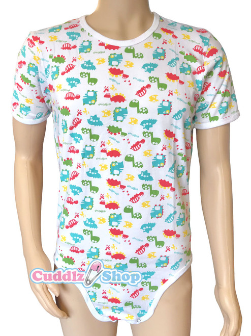 Cuddlz Colourful Dinosaur Pattern Cotton ABDL Body Suit / Adult Baby Onesie