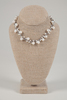 White Pearl Necklace on Gray Wax Cotton