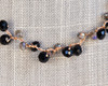Black Orb Necklace on Gold Silk Thread