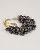 Pebble Stone Pearl Bracelet - Black with gold silk thread