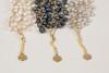Pebble Stone Pearl Bracelet - White with gold silk thread