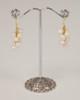 Pebble Stone Pearl Earrings - White & Gold