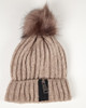 Brown Zipper Pom Pom Hat