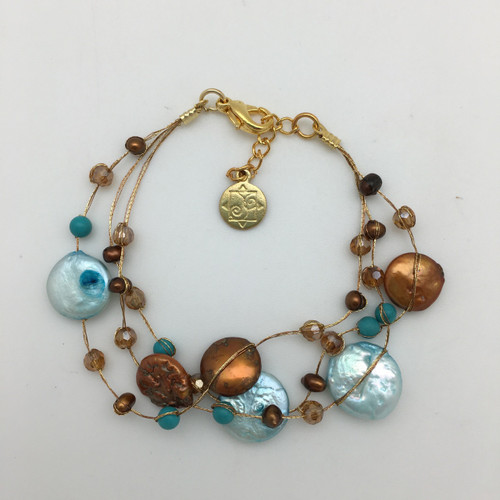 Coin Pearl on Silk Thread Bracelet in Turquoise and Brown