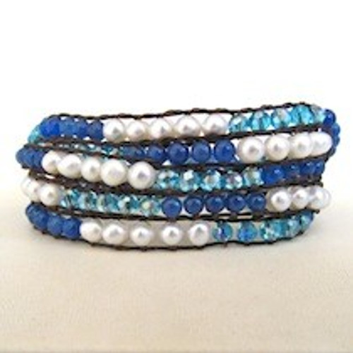 Blue Beaded and White Pearl Wrap Bracelet