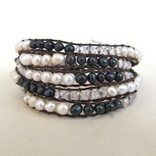 Black and White Pearl Wrap Bracelet