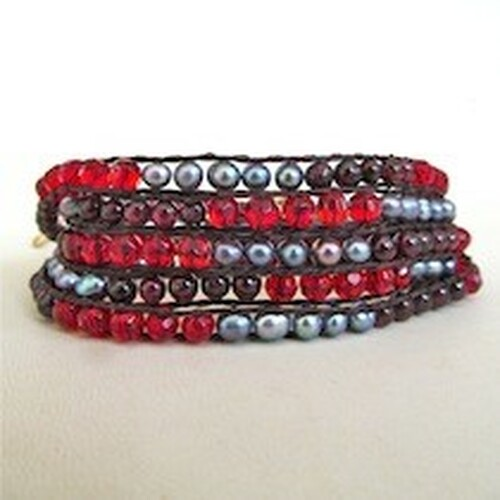 Red Beaded Wrap Bracelet