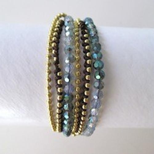 Blue Beaded Wrap Bracelet-Gold