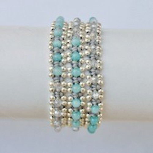 Aqua Beaded Grey Waxed Cotton Wrap Bracelet