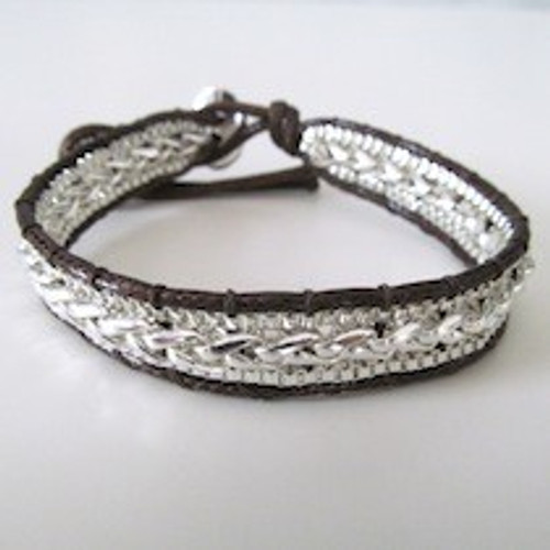 Brown Leather Silver Bracelet