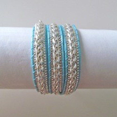 Aqua Leather Wrap Bracelet