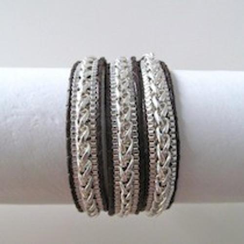 Brown Leather Wrap Bracelet-Silver
