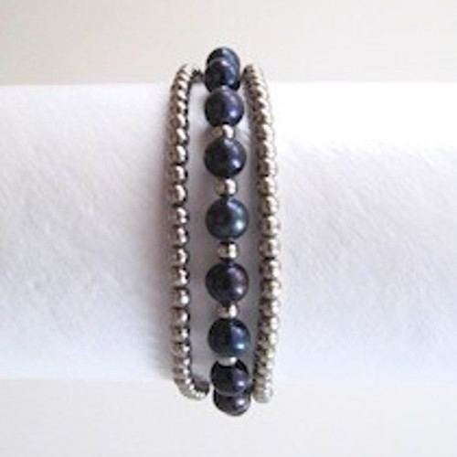 Black Pearl and Silver Bracelet