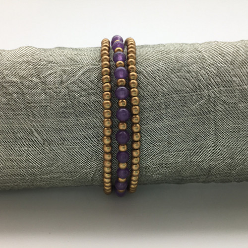 Purple and Gold Beaded Bracelet
